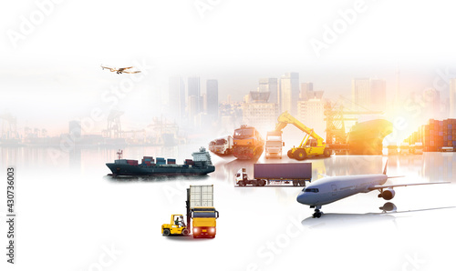 Global business of Container Cargo freight train for Business logistics concept, Air cargo trucking, Rail transportation and maritime shipping, Online goods orders worldwide - fototapety na wymiar
