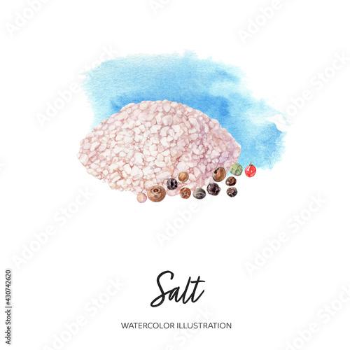 Salt watercolor illustration isolated on splash background
