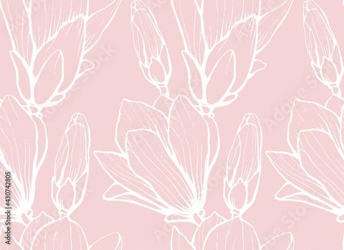 Fotografia Seamless pattern with hand drawn magnolia flower