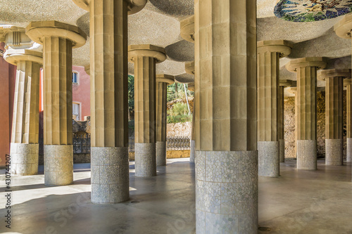 Fotografie, Tablou Colonnaded footpath in Parc Guell designed by Antoni Gaudi