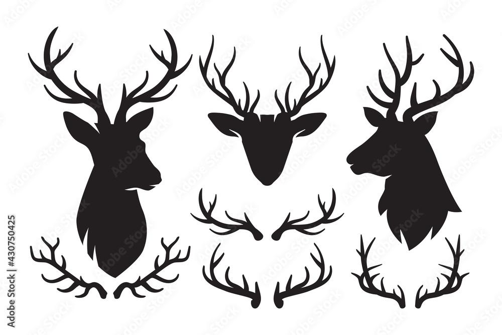 Fotografie, Obraz Set of silhouettes of deer and deer antlers, Deer Head icon, Deer antlers black