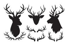 Set Of Silhouettes Of Deer And Deer Antlers, Deer Head Icon, Deer Antlers Black Emblems, Vector Illustration