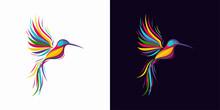 Abstract Colorful Hummingbird Colibri Bird Logo Line Outline Monoline Vector Icon Illustration
