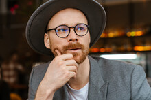 Mid Aged Fashionable Hipster Man Wearing Glasses