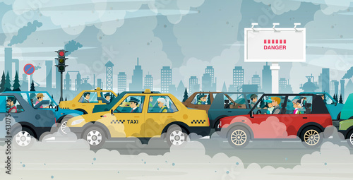 Fotografia People driving in cities are exposed to traffic jams and air pollution
