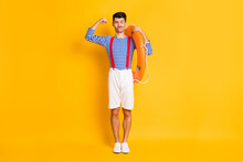 Full Size Photo Of Handsome Brunette Man Wear Sailor Outfit Red Suspenders Ring Show Biceps Isolated On Yellow Color Background