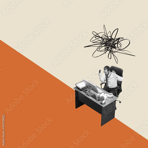 Fototapeta Modern design, contemporary art collage. Inspiration, idea, trendy urban magazine style. High angle view office manager on geometrical background obraz