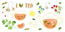 Big Set Of Tea Illustrations - Glass Pot, Glass Cup, Tea Bags, Tea Leaves, Berries, Jasmine, Mint, Lemon And Orange Slices. With Lettering - I Love Tea. Isolated On White Background.