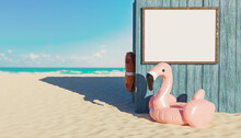 Mockup Of Blank Signage Panel In A Wooden Hut On The Beach With Flamingo Float