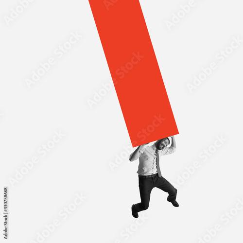 Modern design, contemporary art collage. Inspiration, idea, trendy urban magazine style. Businessman pressed, stressed out on geometrical background - fototapety na wymiar
