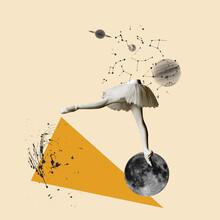 Modern Design, Contemporary Art Collage. Inspiration, Idea, Trendy Urban Magazine Style. Female Legs Dancing On Moon On Geometrical Background