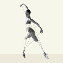 Modern Design, Contemporary Art Collage. Inspiration, Idea, Trendy Urban Magazine Style. Ballet Dancer Like Puppet On Pastel Background