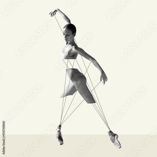 Modern design, contemporary art collage. Inspiration, idea, trendy urban magazine style. Ballet dancer like puppet on pastel background - fototapety na wymiar