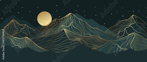 Tableau sur Toile Mountain line art background, luxury gold wallpaper design for cover, invitation background, packaging design, wall art and print