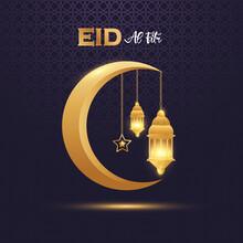 Eid Al Fitr Mubarak With Golden Ornate Crescent And Islamic Premium Vector
