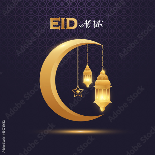 Fototapeta Eid al fitr mubarak with golden ornate crescent and islamic Premium Vector obraz