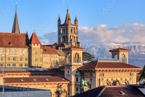 Lausanne city and the snow covered Alps mountains, Switzerland Fototapet