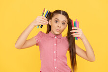 Funny Child Girl Hold Colorful Pens Or Markers For Studying, School
