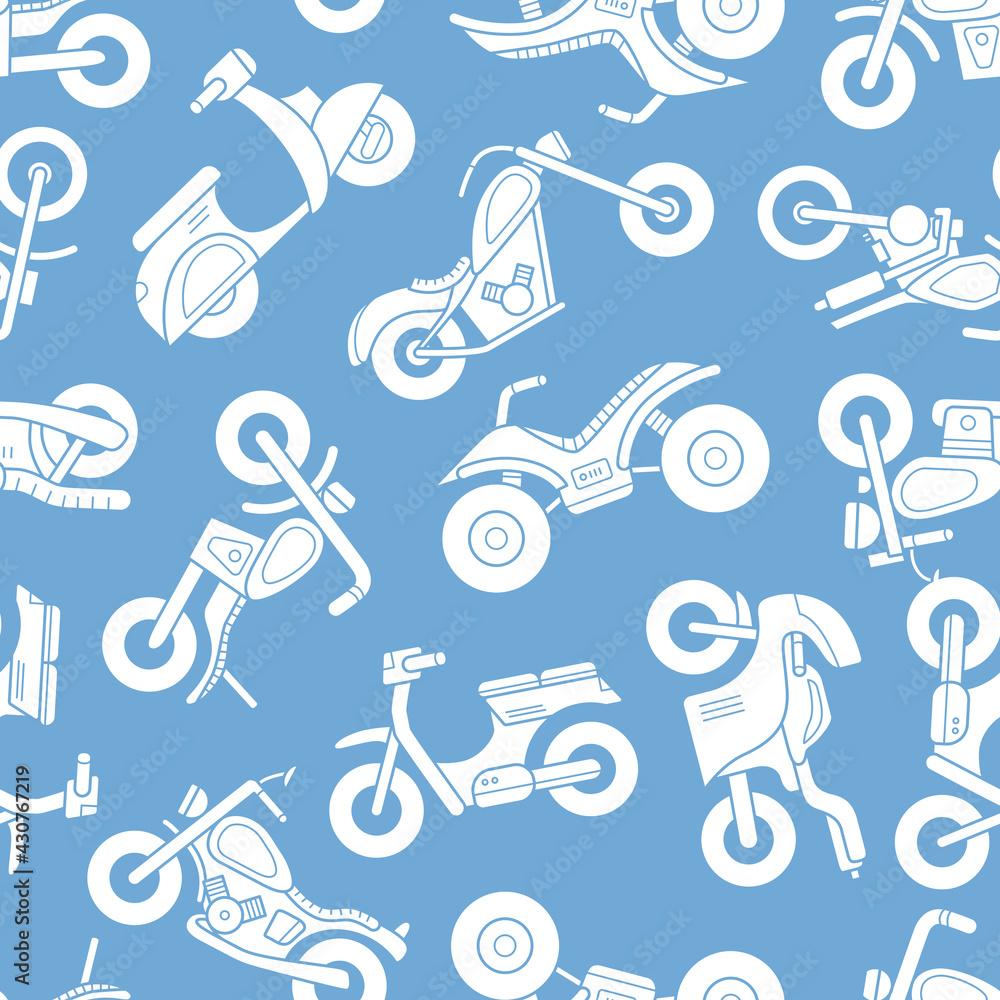Fotografie, Obraz Motorbike - Vector background (seamless pattern) of silhouettes motorcycle, bike