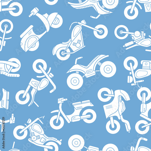 Fototapeta Motorbike - Vector background (seamless pattern) of silhouettes motorcycle, bike