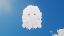 3d Rendering Of White Clouds In Shape Of Symbol Of Ghost On Blue Sky With Sun