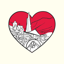 I Love Andorra La Vella. Red Heart And Famous Buildings