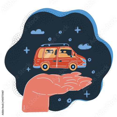 Vector illustration of hand with red car on it on dark background. - fototapety na wymiar
