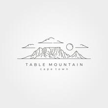 Table Mountain Landscape Line Art Vector Symbol Illustration Design, Cape Town National Park Line Art Style