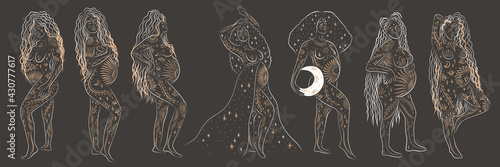 Obraz na plátně woman contour astrology, goddess of female power