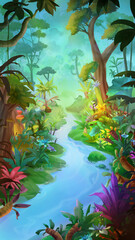 Dream Forest. Nature Scene. Fantasy Backdrop. Concept Art. Realistic Illustration. Video Game Background. Digital Painting. CG Artwork. Scenery Artwork. Serious Painting. Book Illustration.