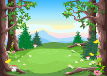 Vector Fairy Tale Landscape Of A Forest Glade With Trees, Blooming Flowers And Yellow Butterflies In Cartoon Style