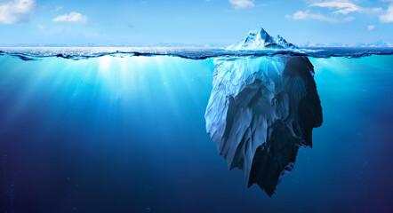 Iceberg - Underwater Risk - Global Warming Concept - 3d Rendering