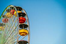 Santa Monica Ferris Wheel Against A Blue Sky