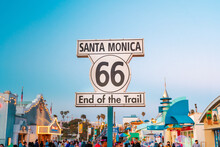 Route 66 Santa Monica End Of Trail Sign On. Los Angeles, USA - 15 Apr 2021