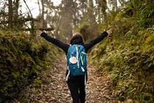 Pilgrim Brunette Woman, Doing The Camino De Santiago. Hike, Way Of St James