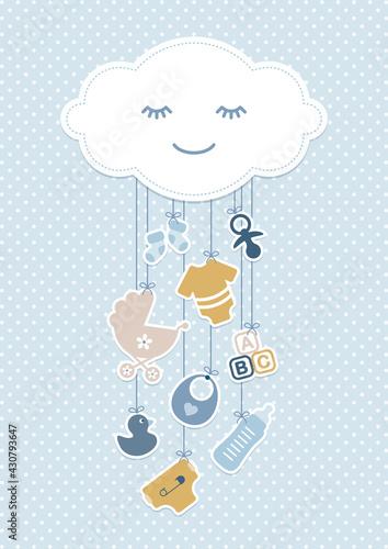 Obraz Babykarte Junge Wolke & Hängende Icons Punkte Retroblau Senfgelb - fototapety do salonu