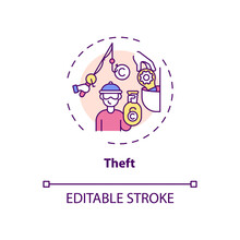Theft Concept Icon. Copyright Infringement Type Idea Thin Line Illustration. Possessing Exclusive Rights Without Authorization. Vector Isolated Outline RGB Color Drawing. Editable Stroke