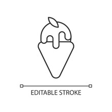 Gelato Linear Icon. Frozen Custard. Cooling Pistachio Treat For Summer Days. Dairy Dessert. Thin Line Customizable Illustration. Contour Symbol. Vector Isolated Outline Drawing. Editable Stroke