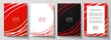 Modern Red Cover, Frame Design Set. Abstract Radial Line Pattern (curves). Creative Stripe Vector Collection For Business Background Page, Brochure Template, Booklet, Vertical Certificate