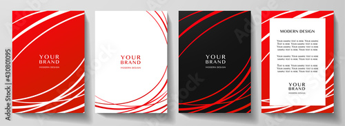 Modern red cover, frame design set. Abstract radial line pattern (curves). Creative stripe vector collection for business background page, brochure template, booklet, vertical certificate - fototapety na wymiar