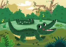 Happy Crocodiles In A Swamp. Vector Illustration.