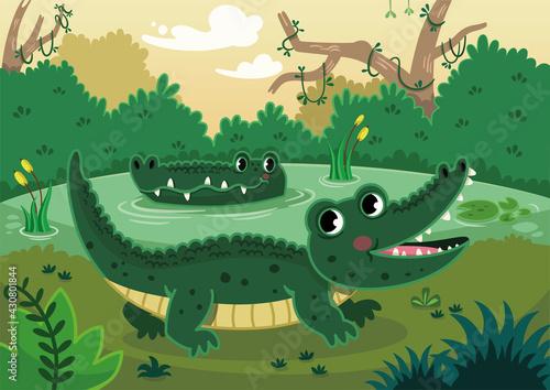 Canvas Happy crocodiles in a swamp. Vector illustration.