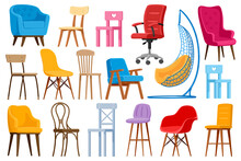 Cartoon Chairs. Home Or Office Modern Chairs And Armchairs, Interior Furniture Elements Isolated Vector Illustration Set. Interior Chairs Furniture