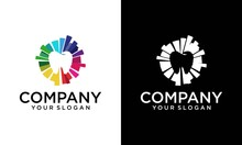 Design Teeth Logo Element. Crushing Abstract Pattern. Colorful Icons Logo.