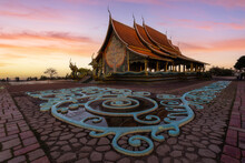Beautiful Views Sunrise At Wat Sirindhorn Wararam (Wat Phu Prao), Ubon Ratchathani