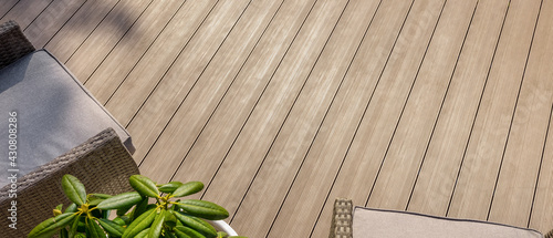 Fotografia terrace with wpc decking boards. banner copy space