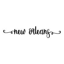 Banner Con Texto Manuscrito New Orleans Escrito A Mano Con Florituras En Color Negro