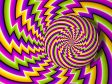 Colorful Background With Rotating Sphere. Spin Illusion.
