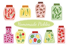 A Set Of Homemade Pickles In Jars. Natural Organic Food. Farm Products. Vector Illustration