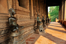 Buddha Statues At Ho Phra Keo Temple In Vientiane, Laos.